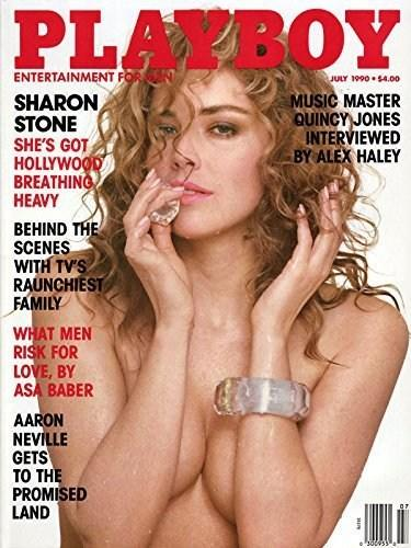 "Sharon Stone's 1990 Playboy cover said, ""She's got Hollywood breathing heavy."" The future Basic Instinct sex symbol had just appeared in Total Recall before landing this cover. (Photo: Playboy)"