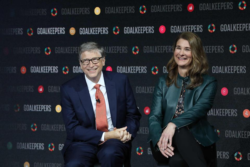 In this file photo taken on Sept. 26, 2018, Bill Gates and his wife Melinda Gates introduce the Goalkeepers event at the Lincoln Center in New York.