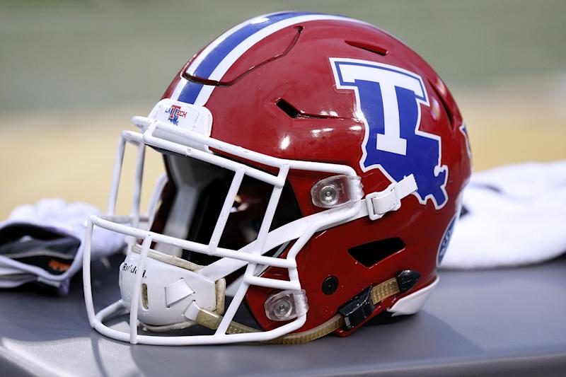 BATON ROUGE, LA - SEPTEMBER 22: A Louisiana Tech Bulldogs helmet is seen during a game against the LSU Tigers at Tiger Stadium on September 22, 2018 in Baton Rouge, Louisiana. (Photo by Jonathan Bachman/Getty Images)