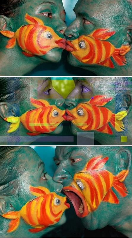 "<p>If you're looking for a romantic costume to do with your partner, look no further than these painted fish. The way the the artwork changes as the faces stretch and twist is just <i>awesome</i>. Seriously, we'll make an exception and allow a some PDAs if they're as cute as this. <i>(Photo: <a href=""http://www.face-painting-fun.com/face-painting-examples.html"">facepaintingfun</a>)</i></p>"