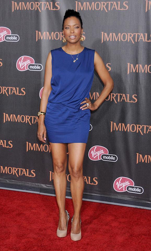 """<a href=""""http://movies.yahoo.com/movie/contributor/1804572707"""">Aisha Tyler</a> at the Los Angeles premiere of <a href=""""http://movies.yahoo.com/movie/1810150710/info"""">Immortals</a> on November 7, 2011."""