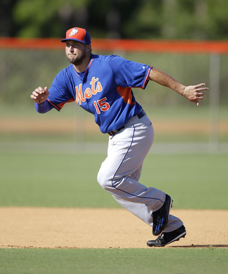 <p>Tim Tebow runs the base during practice before his first instructional league baseball game for the New York Mets against the St. Louis Cardinals instructional club Wednesday, Sept. 28, 2016, in Port St. Lucie, Fla. (AP Photo/Luis M. Alvarez) </p>