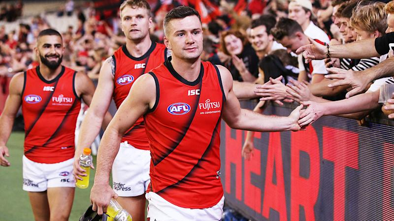 Conor McKenna, pictured here celebrating after an Essendon win in 2019.
