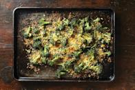 """When you cook broccoli gratin on a sheet pan, every single morsel gets an ample coating of crunch. <a href=""""https://www.epicurious.com/recipes/food/views/blissed-out-crispy-cheesy-broccoli-gratin?mbid=synd_yahoo_rss"""" rel=""""nofollow noopener"""" target=""""_blank"""" data-ylk=""""slk:See recipe."""" class=""""link rapid-noclick-resp"""">See recipe.</a>"""