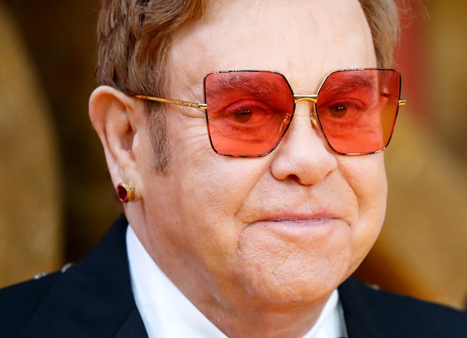 """LONDON, UNITED KINGDOM - JULY 14: (EMBARGOED FOR PUBLICATION IN UK NEWSPAPERS UNTIL 24 HOURS AFTER CREATE DATE AND TIME) Elton John attends """"The Lion King"""" European Premiere at Leicester Square on July 14, 2019 in London, England. (Photo by Max Mumby/Indigo/Getty Images)"""