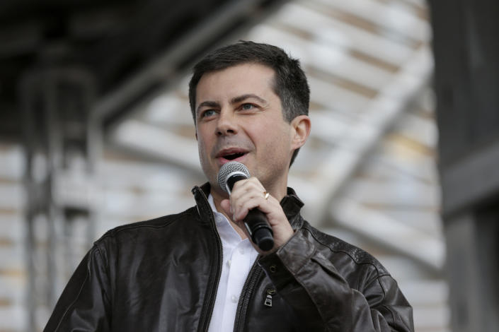 Democratic presidential candidate and South Bend, Ind., Mayor Pete Buttigieg addresses supporters during a rally in Des Moines, Iowa, on Nov. 1. (Photo: Nati Harnik/AP)