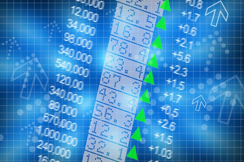Columns of stock prices and up arrows.