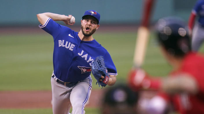Toronto Blue Jays starting pitcher Thomas Hatch delivers during the first inning of a baseball game against the Boston Red Sox at Fenway Park, Monday, July 26, 2021, in Boston. (AP Photo/Charles Krupa)