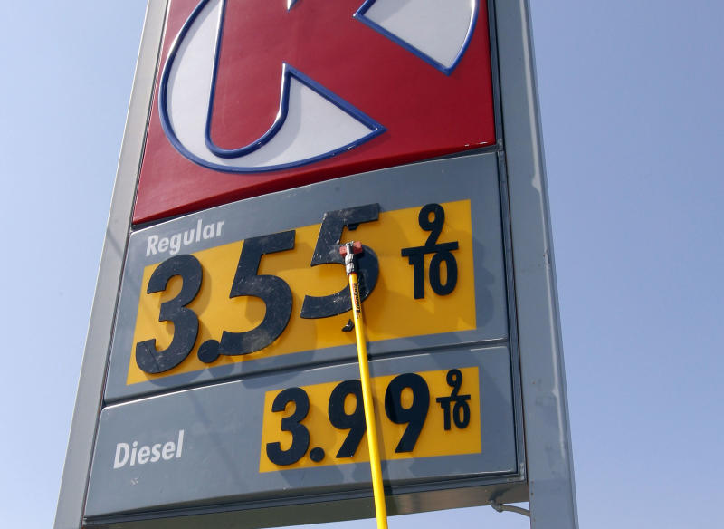 FILE-In this Tuesday, Sept. 25, 2012, file photo, Roy Davis, lead customer service representative, changes the sign indicating a two-cent lower price for regular unleaded gasoline at this Circle K gas station in Oklahoma City.  The price of oil finished higher Monday after a report showed U.S. manufacturing activity rose in September for the first time in four months. (AP Photo/Sue Ogrocki, File)