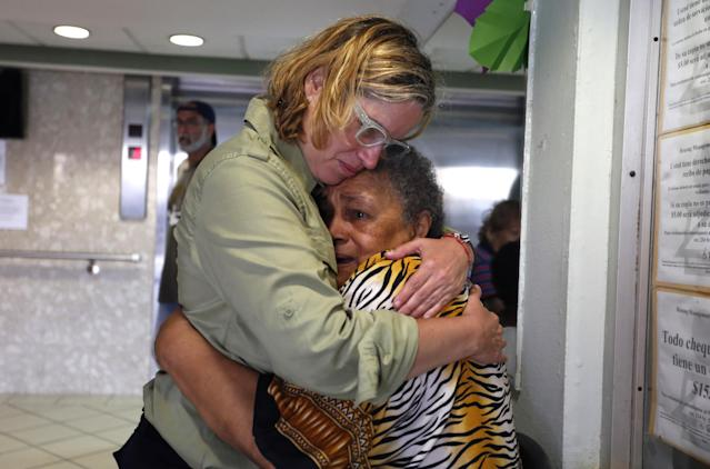 San Juan Mayor Carmen Yulín Cruz, left, hugs a woman during her visit to an elderly home in San Juan, Puerto Rico, Sept. 22, 2017. (Photo: Thais Llorca/EPA-EFE/REX/Shutterstock)