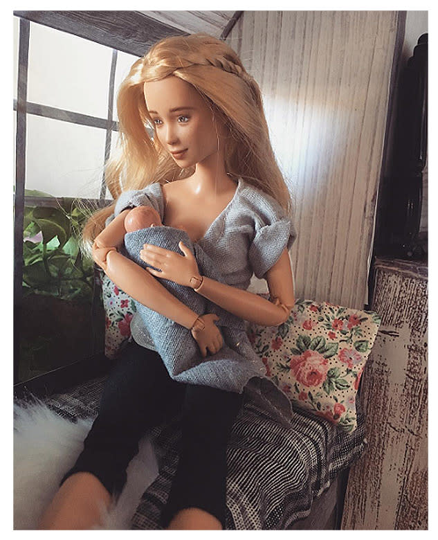Mom and artist Betty Strachan created a breastfeeding Barbie doll to support women and educate children. (Photo: Instagram/Betty Strachan)
