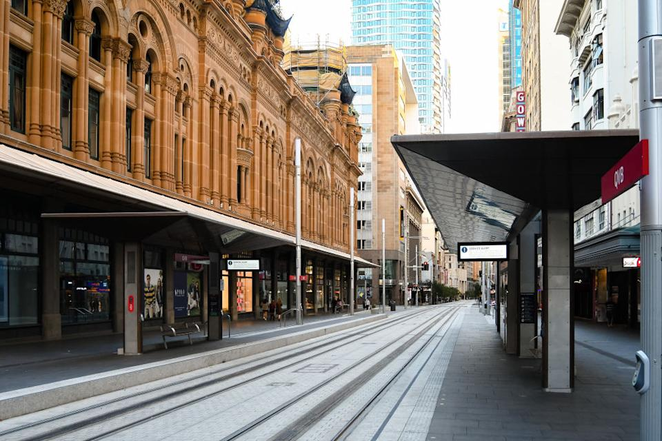 SYDNEY, AUSTRALIA - MAY 03: An almost empty street in the CBD due to COVID 19 on 03 May, 2020 in Sydney, Australia. (Photo by Speed Media/Icon Sportswire)