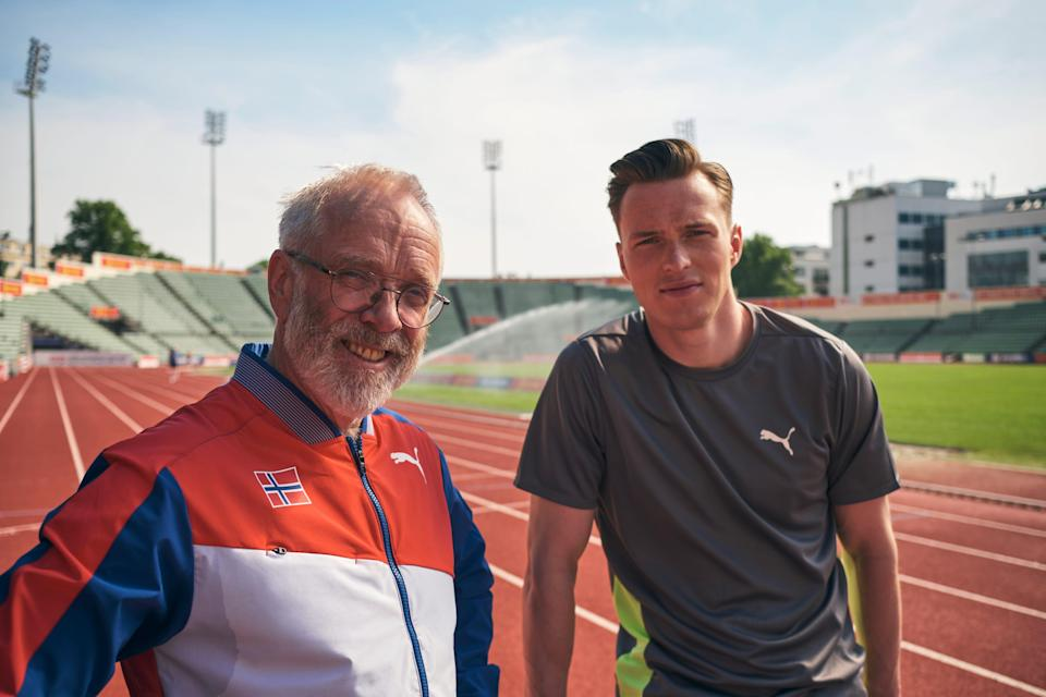 Leif Olav Alnes and Karsten Warholm at a running track.