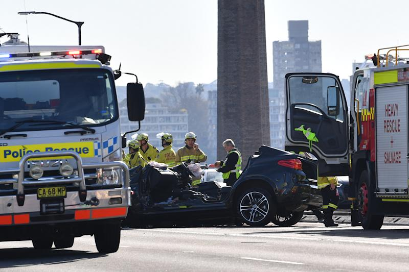 The wreckage of a multi car accident on the Sydney Harbour Bridge.