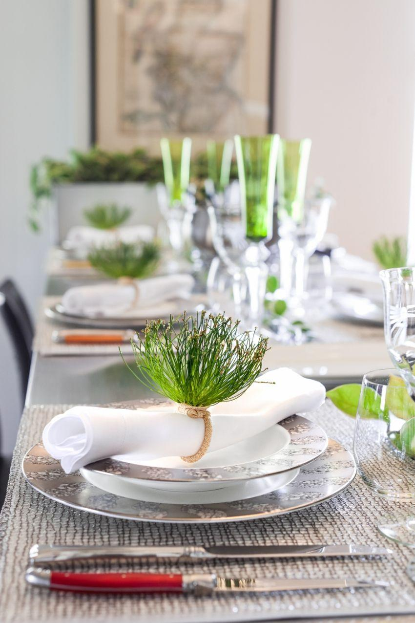 """<p>""""Instead of opting for the traditional Easter pinks and purples, I work with green to play off of the beginning of Spring. Accommodating my large family leaves little table room for any aesthetic additions like centerpiece items, so I try to pull in as much color as I can from the items that absolutely have to be there. When working with your everyday white china, you can still have a completely over-the-top tablescape by using colorful essentials—flatware, napkin rings, crystalware, and table linens."""" <em>—<a href=""""http://www.stcharlesofnewyork.com/curated/"""" rel=""""nofollow noopener"""" target=""""_blank"""" data-ylk=""""slk:Lindsey Katalan"""" class=""""link rapid-noclick-resp"""">Lindsey Katalan</a>, Creative Director, CURATED</em></p>"""