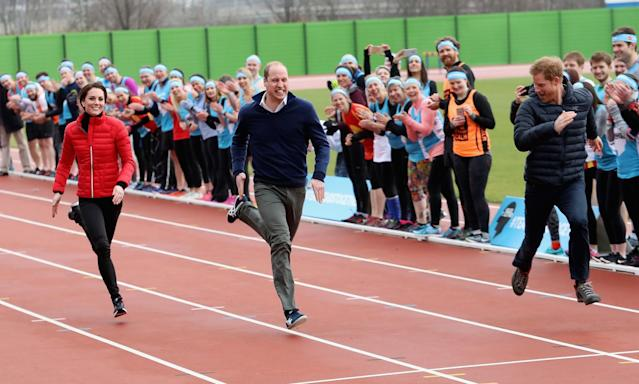<p>LONDON, ENGLAND – FEBRUARY 05: The Duke and Duchess of Cambridge and Prince Harry join Team Heads Together at a London Marathon Training Day at the Queen Elizabeth Olympic Park on February 5, 2017 in London, England. (Photo by Chris Jackson/Getty Images) </p>