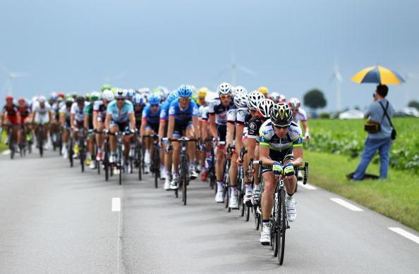 Stuart O'Grady of Australia and Orica Greenedge rides on the front of the peloton during stage five of the 2012 Tour de France from Rouen to Saint-Quentin on July 5, 2012 in Saint-Quentin, France. (Photo by Bryn Lennon/Getty Images)
