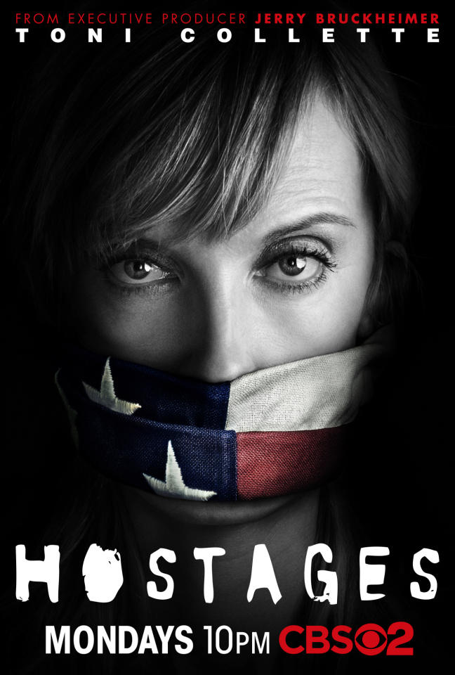 "CBS has released a sneak peek of the key art designs for the Network's new fall 15-episode thriller ""Hostages."" The designs will be featured at Comic-Con this week and will begin appearing in print, online and outdoor later this summer. The print designs feature Toni Collette and Dylan McDermott in one version together; and in two alternate versions, individually."