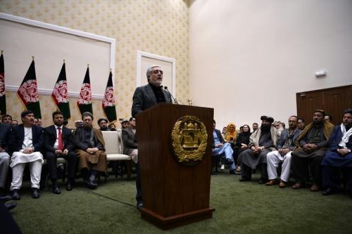 Abdullah Abdullah speaks at a press conference in Kabul after preliminary results showed that he had lost his challenge to unseat Ashraf Ghani in Afghanistan's presidential election -- an outcome Abdullah contested