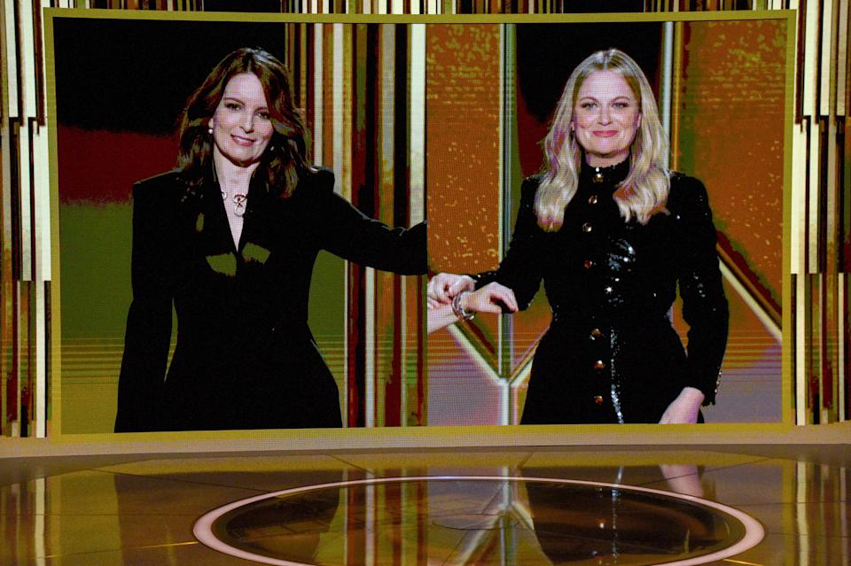 NEW YORK, NEW YORK - FEBRUARY 28: Tina Fey and Amy Poehler speak via livestream during the 78th Annual Golden Globe® Awards at The Rainbow Room on February 28, 2021 in New York City. (Photo by Kevin Mazur/Getty Images for Hollywood Foreign Press Association)