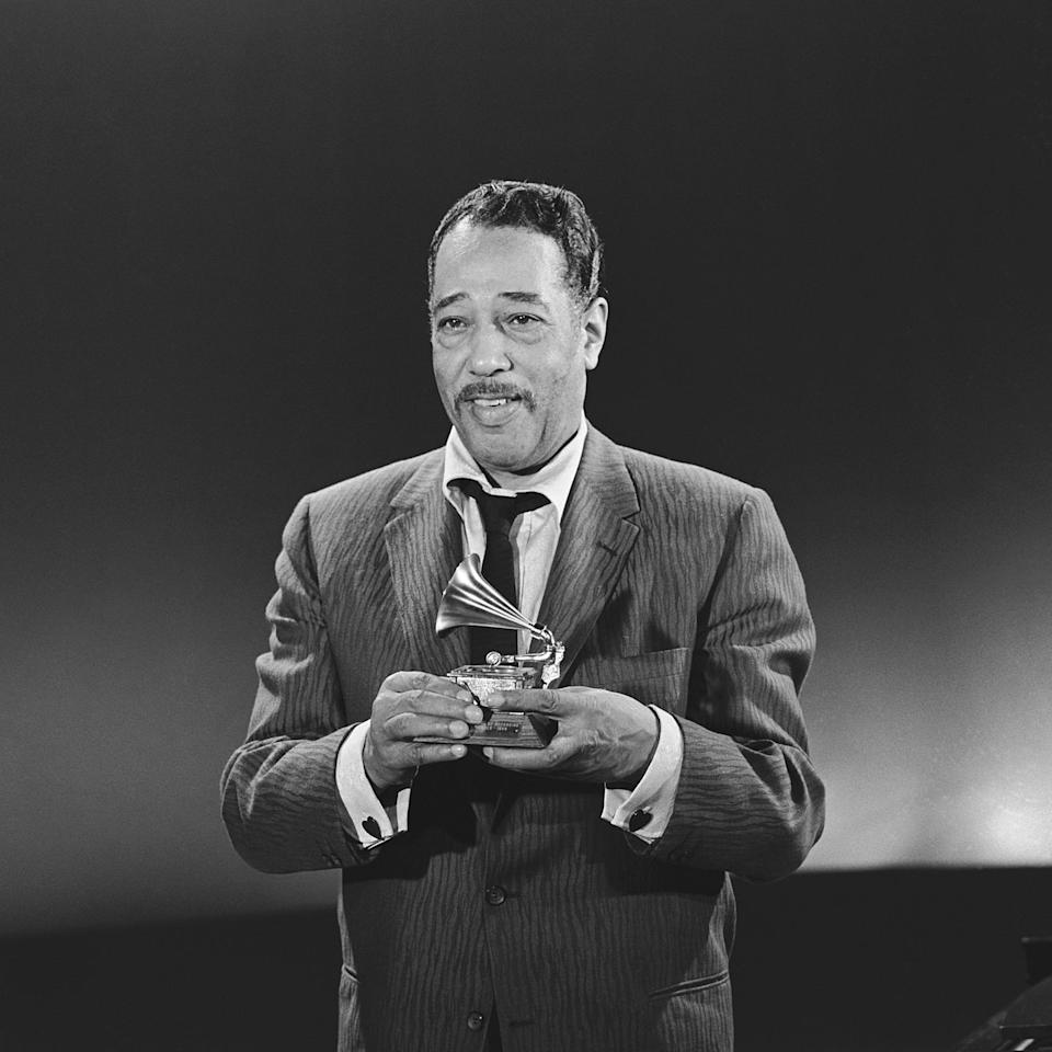 <p>Duke Ellington, who won for Best Performance by a Dance Band and Best Musical Composition, at the second annual Grammy Awards in 1959. </p>