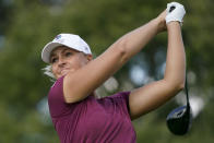 Anna Nordqvist, of Sweden, hits off the third tee in the first round of the Cognizant Founders Cup LPGA golf tournament, Thursday, Oct. 7, 2021, in West Caldwell, N.J. (AP Photo/John Minchillo)