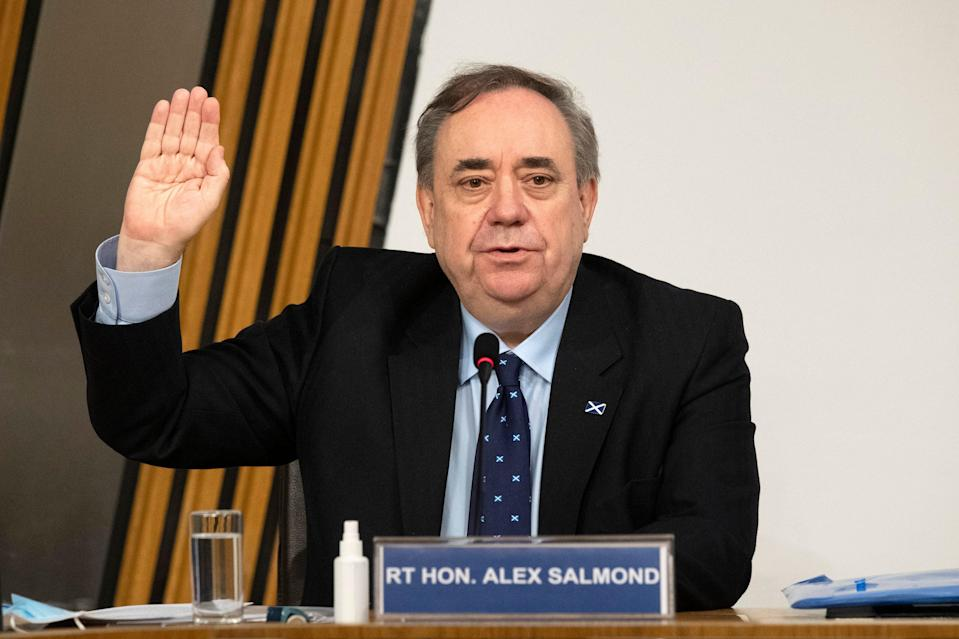 <p>Former first minister Alex Salmond before giving evidence to a Scottish parliament 'harassment committee' on Friday</p> (PA)