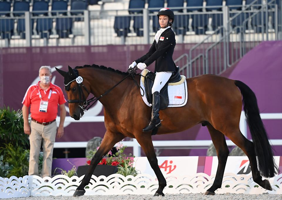 Singapore equestrienne Laurentia Tan rides Banestro in the dressage individual test (Grade I) competition at the 2020 Tokyo Paralympics. (PHOTO: Sport Singapore)