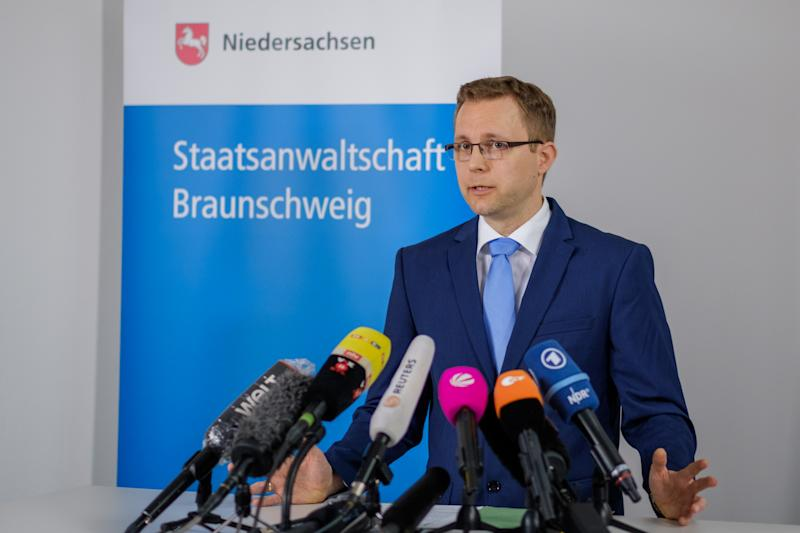 "04 June 2020, Lower Saxony, Brunswick: Public prosecutor Hans Christian Wolters speaks to media representatives in the public prosecutor's office about the investigations in the Maddie case. According to the Federal Criminal Police Office (BKA), the Braunschweig Public Prosecutor's Office is investigating a 43-year-old German who has been convicted several times of sexual offences, including those involving children. Madeleine ""Maddie"" McCann from Great Britain, who was three years old at the time, disappeared on 3 May 2007 from an apartment complex in Praia da Luz, Portugal. Photo: Ole Spata/dpa (Photo by Ole Spata/picture alliance via Getty Images)"