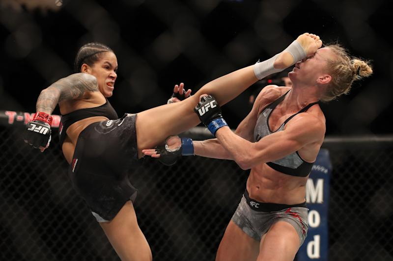 LAS VEGAS, NV - JULY 06: Amanda Nunes of Brazil kicks Holly Holm in their UFC bantamweight championship fight during the UFC 239 event at T-Mobile Arena on July 6, 2019 in Las Vegas, Nevada. (Photo by Christian Petersen/Zuffa LLC/Zuffa LLC)