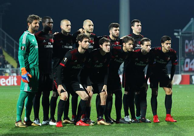 Soccer Football - Europa League - HNK Rijeka vs AC Milan - Stadion HNK Rijeka, Rijeka, Croatia - December 7, 2017 AC Milan players pose for a team group photo before the match REUTERS/Antonio Bronic