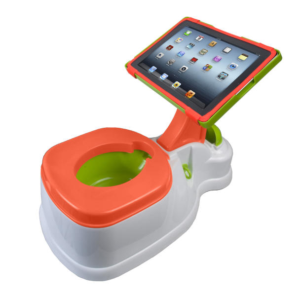 This product image released by CTA Digital shows the 2-in-1 iPotty with Activity Seat for iPad. For some parents, summertime is potty training time. And like so many aspects of life with kids, potty training means gear, lots of gear. The choices in potty seats and chairs proliferated and sprouted all manner of bells and whistles. (AP Photo/CTA Digital)