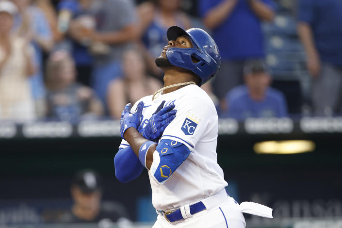 Kansas City Royals' Jorge Soler reacts as he crosses home plate after hitting a home run during the fourth inning of a baseball game against the Chicago White Sox at Kauffman Stadium in Kansas City, Mo., Monday, July 26, 2021. (AP Photo/Colin E. Braley)