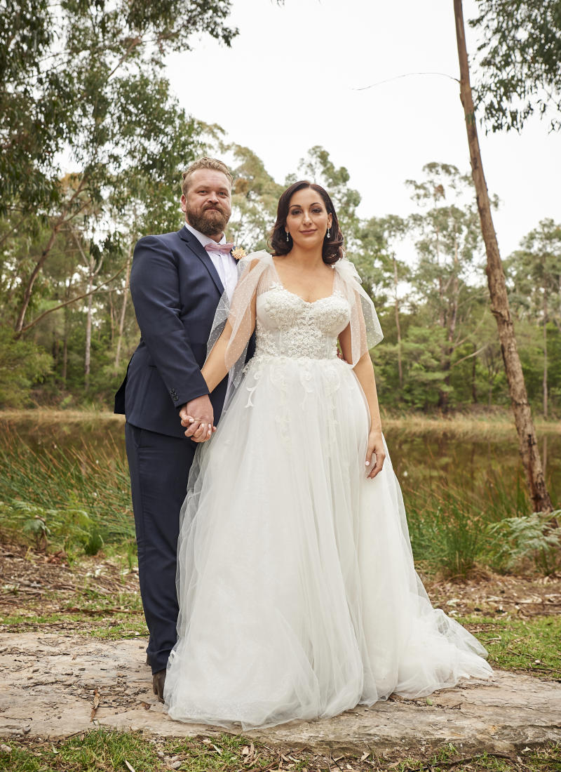 Luke and Poppy from MAFS on their wedding day