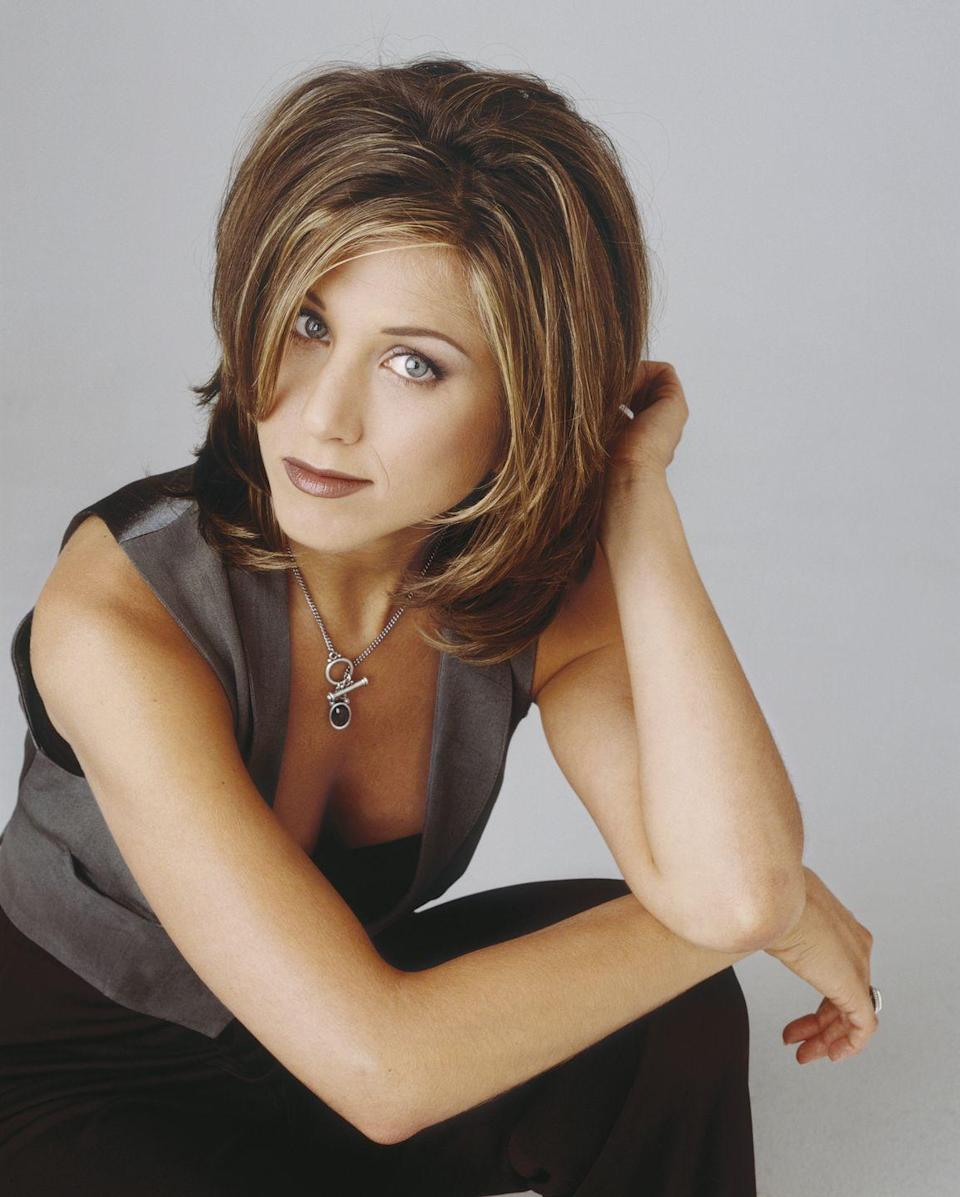 """<p>While Jen has <a href=""""https://www.goodhousekeeping.com/beauty/news/a32476/jennifer-aniston-hate-the-rachel-haircut/"""" rel=""""nofollow noopener"""" target=""""_blank"""" data-ylk=""""slk:admitted she actually despised"""" class=""""link rapid-noclick-resp"""">admitted she actually despised</a> her most famous hairstyle, this <a href=""""https://www.goodhousekeeping.com/beauty/hair/tips/g1820/celebrity-hairstyles-layers-may07/"""" rel=""""nofollow noopener"""" target=""""_blank"""" data-ylk=""""slk:layered haircut"""" class=""""link rapid-noclick-resp"""">layered haircut</a> led to millions of women chopping off their locks in the 1990s.</p>"""