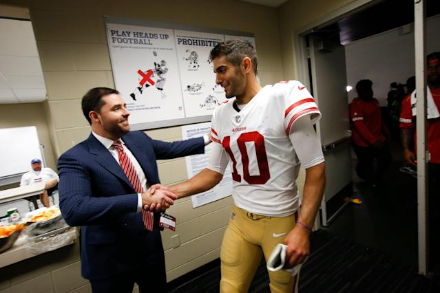 """Few people were angrier about <a class=""""link rapid-noclick-resp"""" href=""""/nfl/players/27590/"""" data-ylk=""""slk:Jimmy Garoppolo"""">Jimmy Garoppolo</a>'s torn ACL than <a class=""""link rapid-noclick-resp"""" href=""""/nfl/teams/san-francisco/"""" data-ylk=""""slk:49ers"""">49ers</a> CEO Jed York. (Photo by Michael Zagaris/San Francisco 49ers/Getty Images)"""