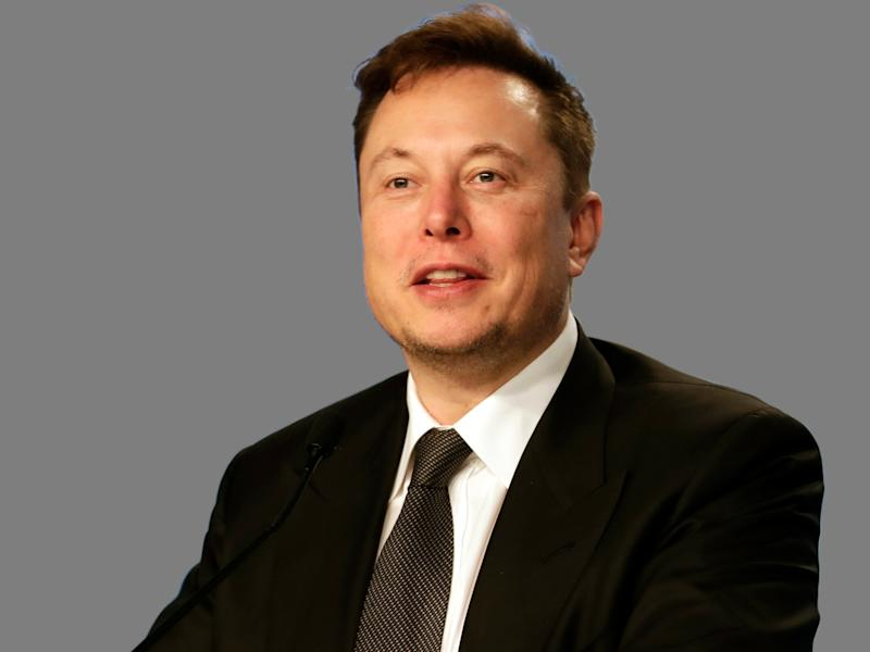 Elon Musk headshot, entrepreneur, graphic element on gray