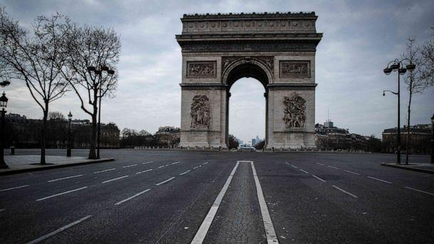 PHOTO: The Arc de Triomphe in Paris, as a strict lockdown came into in effect in France to stop the spread of COVID-19 caused by the novel coronavirus, March 17, 2020. (Joel Saget/AFP via Getty Images, FILE)