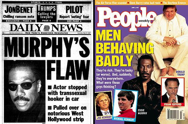Coverage from the New York Daily News and People magazine at the time. He shared the People cover with President Trump (who dumped his second wife Marla Maples), and Michale Kennedy (who had an affair with the family's teen babysitter). (Images: New York Daily News and People magazine)