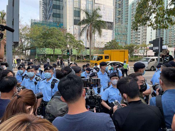 PHOTO: There was a heavy police presence outside of the West Kowloon Magistracy on Monday.  (ABC News)