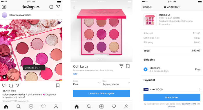 The checkout flow of Instagram Checkout.
