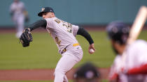 Oakland Athletics starting pitcher James Kaprielian delivers during the first inning of a baseball game against the Boston Red Sox, Wednesday, May 12, 2021, in Boston. (AP Photo/Charles Krupa)