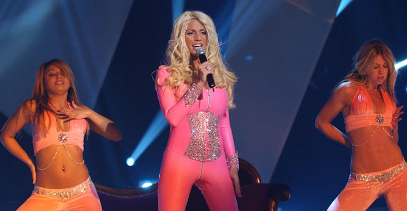 Katie Price during her unforgettable 2005 Eurovision performance (PA Images).