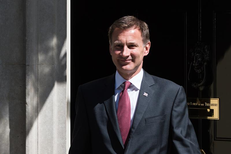Secretary of State for Foreign and Commonwealth Affairs Jeremy Hunt leaves 10 Downing Street after Theresa May's final cabinet meeting as Prime Minister on 23 July, 2019 in London, England. Today's announcement of a new Conservative Party leader and prime minister, most likely Boris Johnson, is expected to trigger ministerial resignations from critics of the no-deal Brexit approach ahead of a major Cabinet reshuffle. (Photo by WIktor Szymanowicz/NurPhoto via Getty Images)