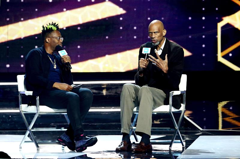 Kareem Abdul-Jabbar, right, speaks to Kardinal Offishall at WE Day California. (Photo: Tommaso Boddi/Getty Images for WE Day)