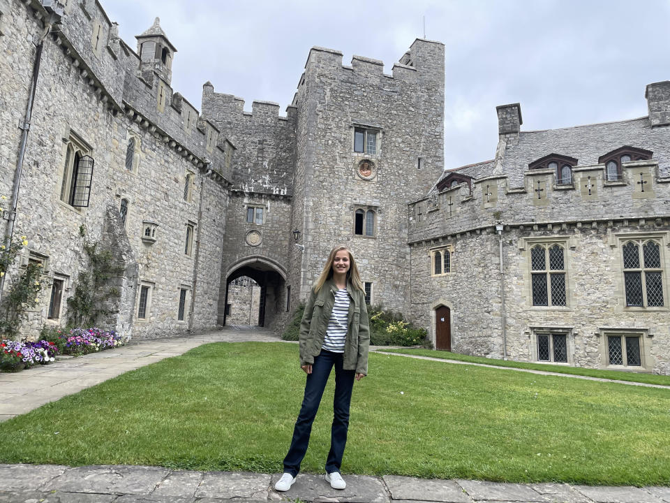 LLANTWIT MAJOR, WALES - AUGUST 30: In this handout image provided by the Royal Household, Crown Princess Leonor of Spain starts the school year at UWC Atlantic College on August 30, 2021 in Llantwit Major, Gales, United Kingdom. (Photo by Spanish Royal Household via Getty Images)