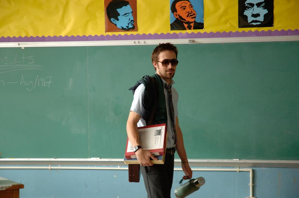 "<p>Gosling, as the messy, but smoke show teacher in ""Half Nelson,"" effortlessly pulled off the five o' clock shadow meets goatee meets mustache mélange on his face. (Photo: Hunting Lame Films)</p>"