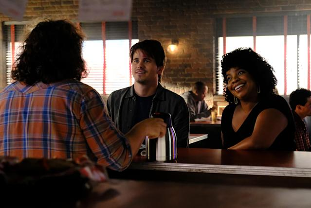 Jason Ritter as Kevin Finn and Kimberly Hebert Gregory as Yvette (Photo: Guy D'Alema/ABC)