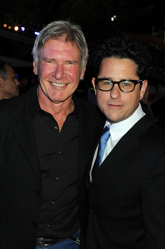 """<a href=""""http://movies.yahoo.com/movie/contributor/1800017113"""">Harrison Ford</a> and <a href=""""http://movies.yahoo.com/movie/contributor/1804476864"""">J.J. Abrams</a> at the 2009 Spike TV Scream Awards in Los Angeles - 10/17/2009"""