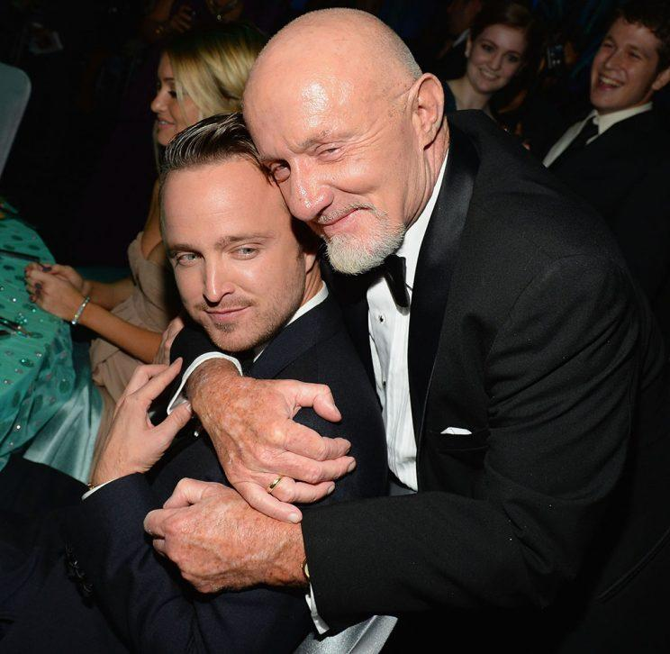 Aaron Paul and Jonathan Banks hugging it out at the 2013 Emmys.